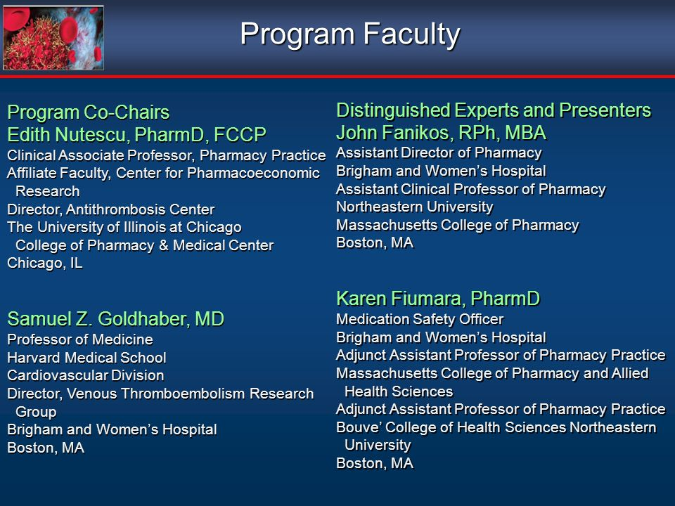 Program Faculty Program Co-Chairs Edith Nutescu, PharmD, FCCP