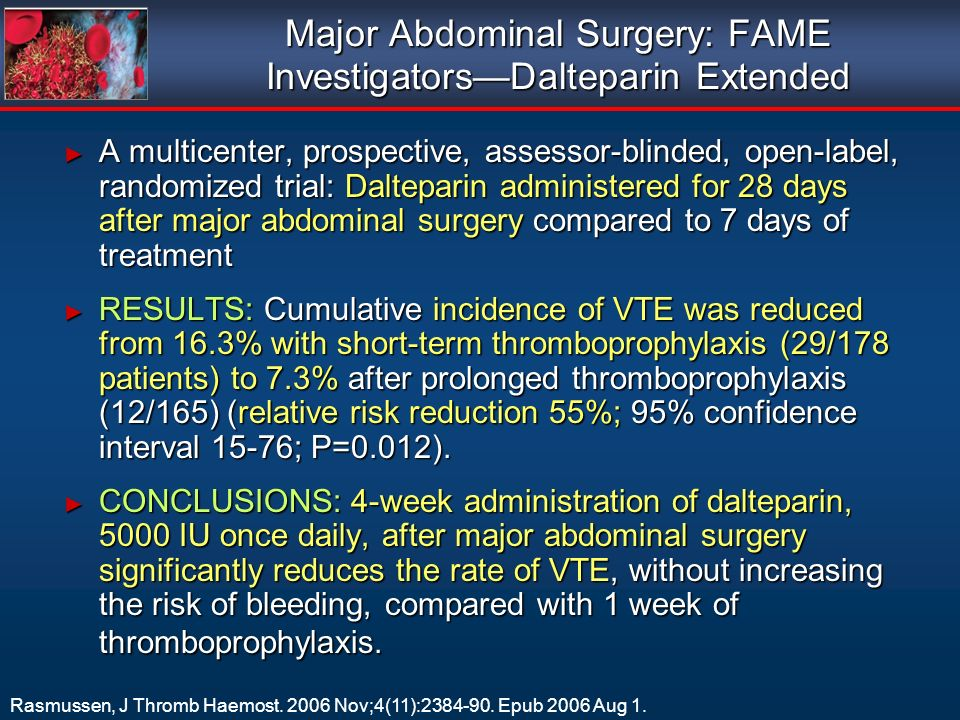 Major Abdominal Surgery: FAME Investigators—Dalteparin Extended