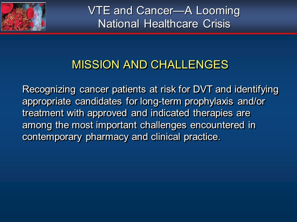 VTE and Cancer—A Looming National Healthcare Crisis