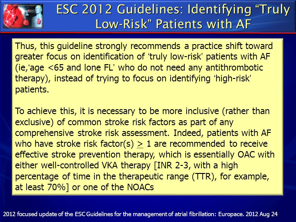 ESC 2012 Guidelines: Identifying Truly Low-Risk Patients with AF
