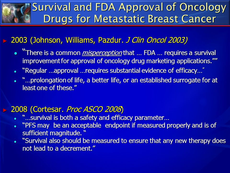 Survival and FDA Approval of Oncology Drugs for Metastatic Breast Cancer
