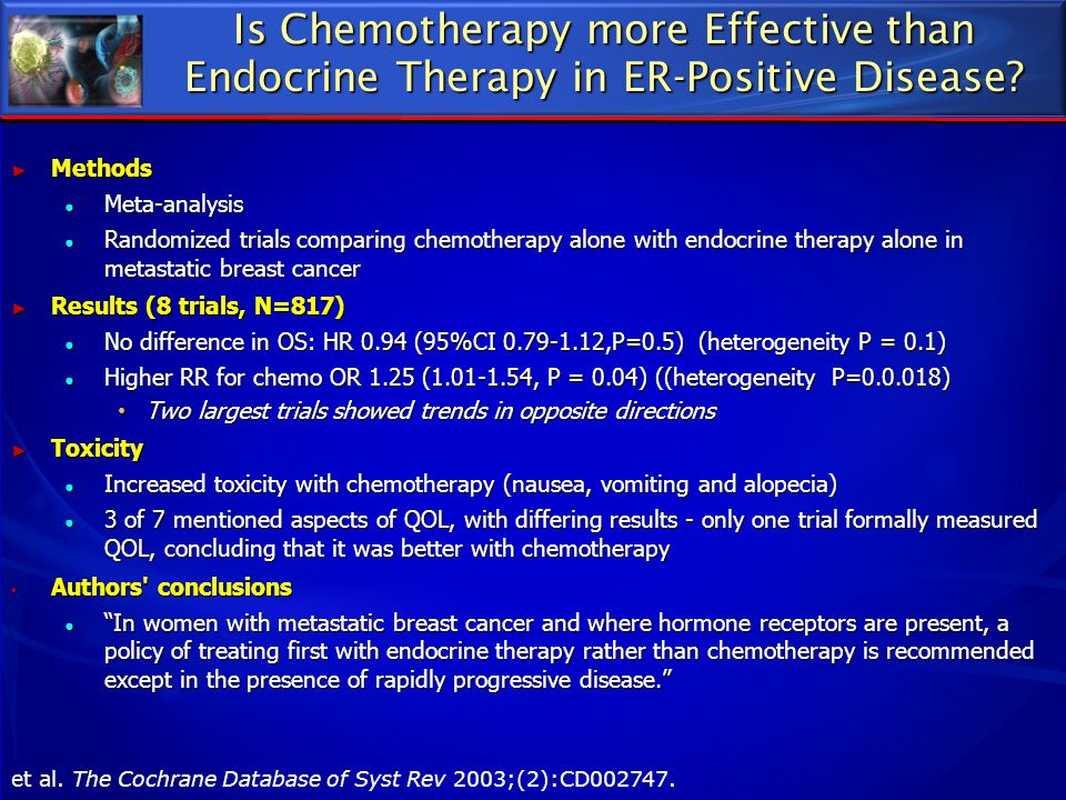 Is Chemotherapy more Effective than Endocrine Therapy in ER-Positive Disease
