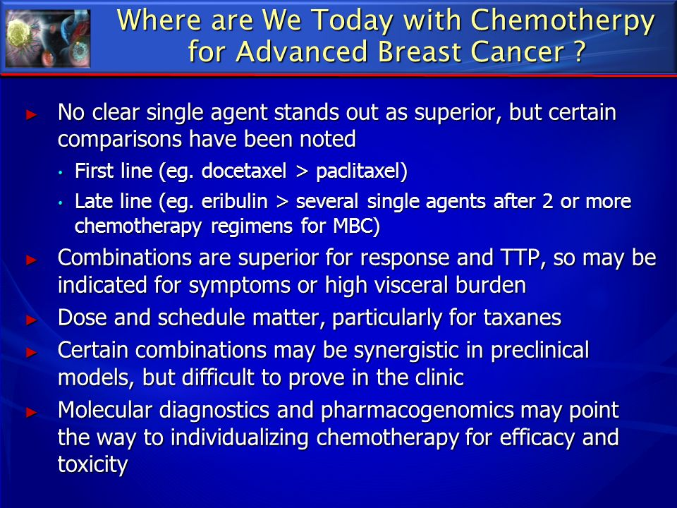Where are We Today with Chemotherpy for Advanced Breast Cancer