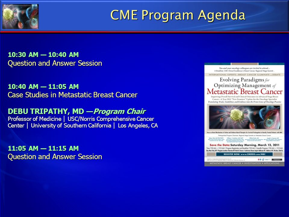 CME Program Agenda Question and Answer Session