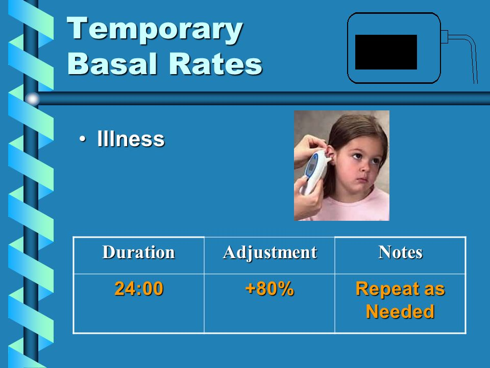 Temporary Basal Rates Illness Duration Adjustment Notes 24:00 +80%