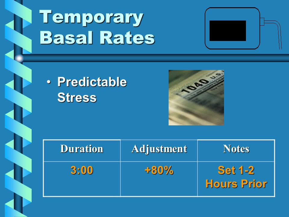 Temporary Basal Rates Predictable Stress Duration Adjustment Notes