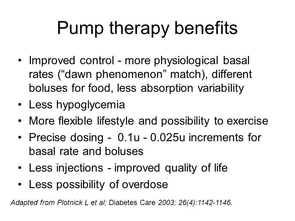 Pump therapy benefits