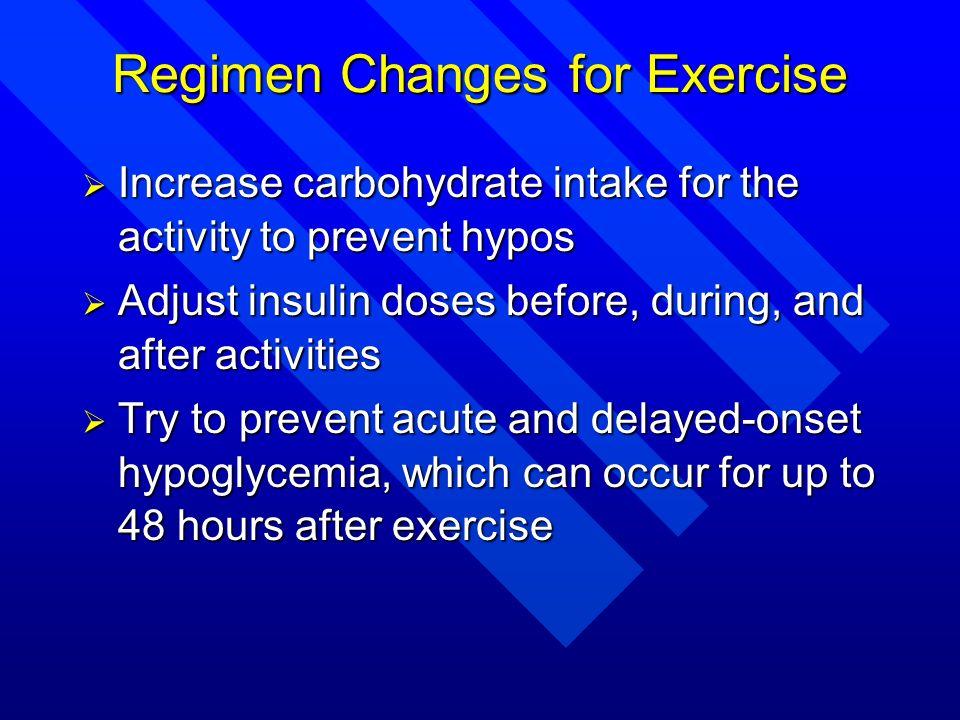 Regimen Changes for Exercise
