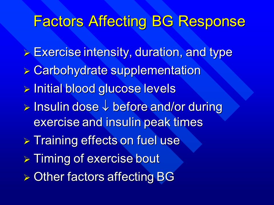 Factors Affecting BG Response