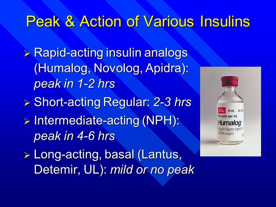 Peak & Action of Various Insulins