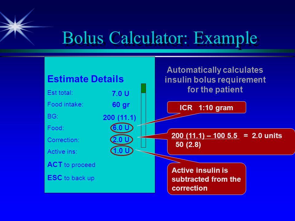 Bolus Calculator: Example