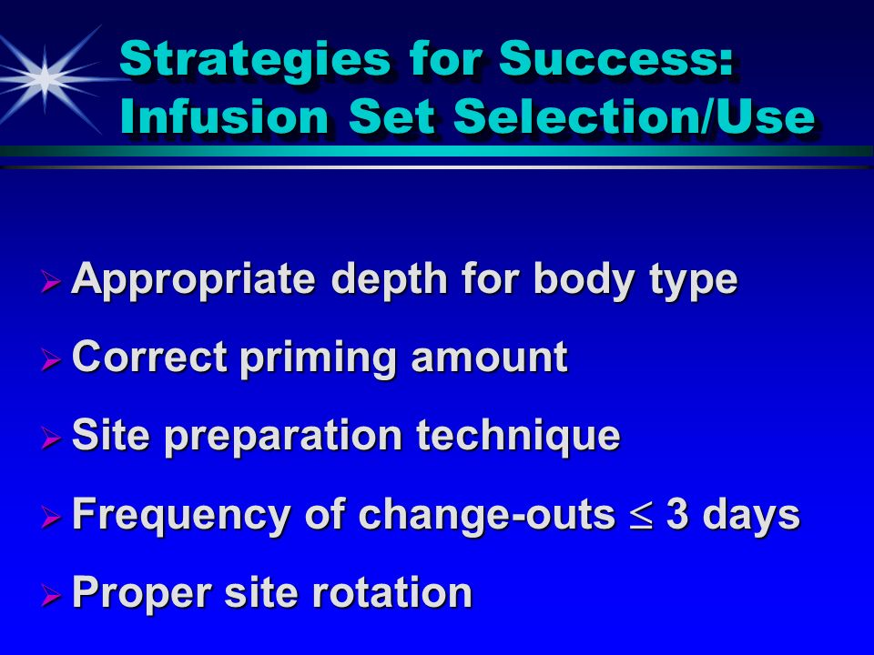 Strategies for Success: Infusion Set Selection/Use
