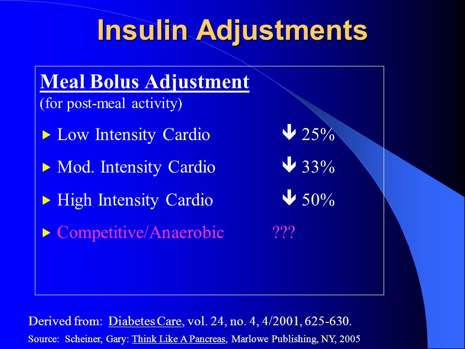 Insulin Adjustments Meal Bolus Adjustment Low Intensity Cardio  25%