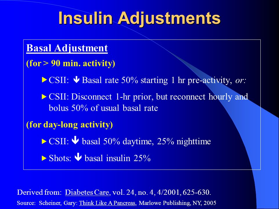 Insulin Adjustments Basal Adjustment (for > 90 min. activity)