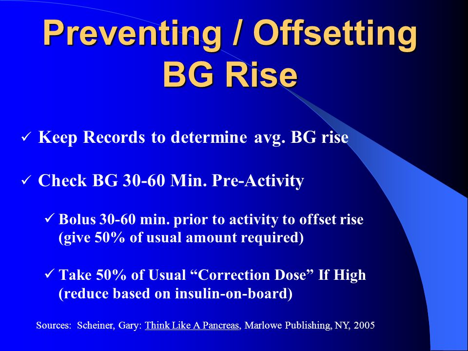 Preventing / Offsetting BG Rise