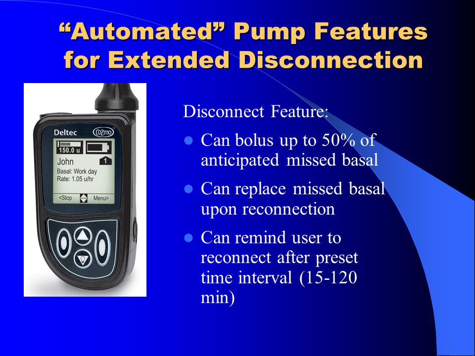 Automated Pump Features for Extended Disconnection