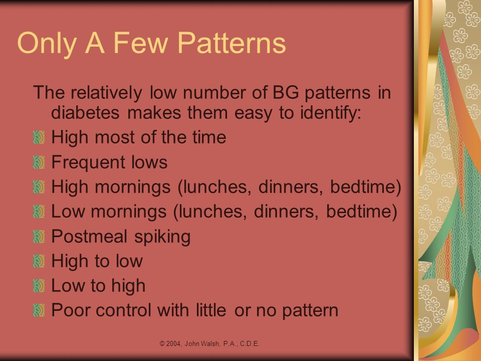 Only A Few Patterns The relatively low number of BG patterns in diabetes makes them easy to identify:
