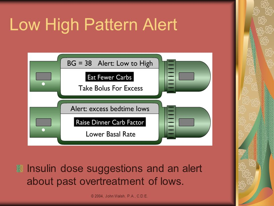 Low High Pattern Alert Insulin dose suggestions and an alert about past overtreatment of lows.