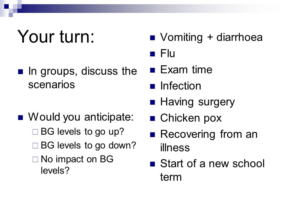 Your turn: Vomiting + diarrhoea Flu Exam time Infection Having surgery