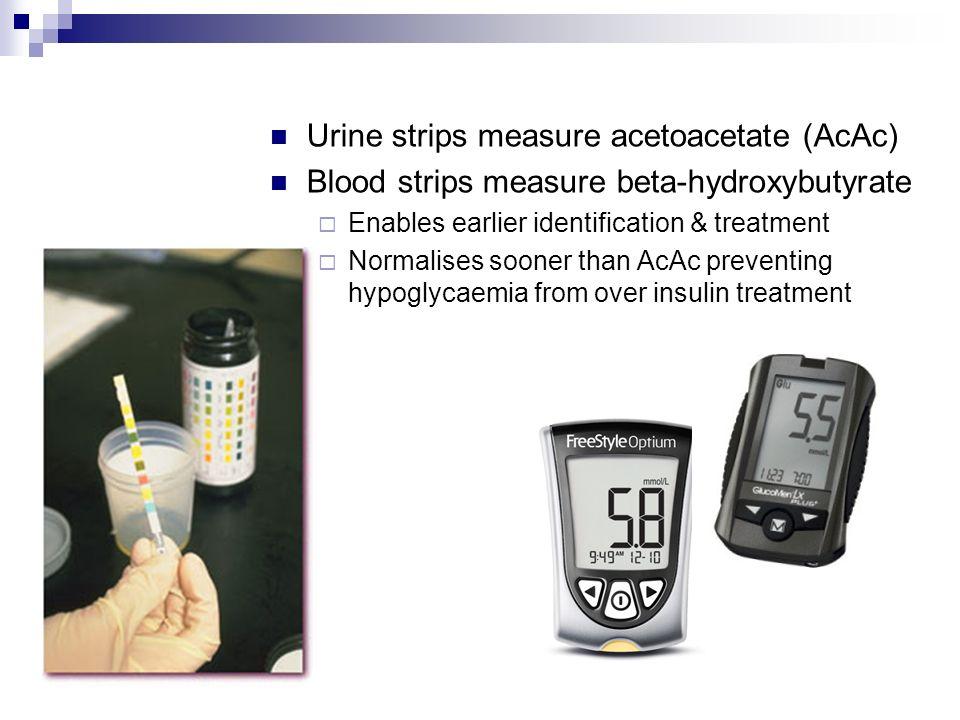 Urine strips measure acetoacetate (AcAc)