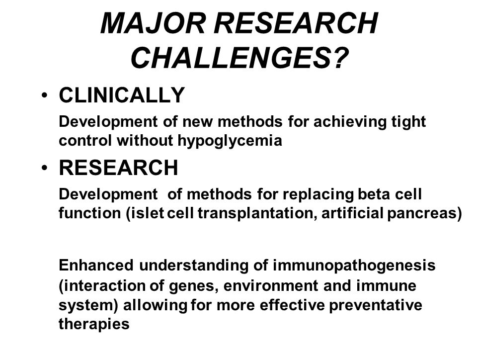 MAJOR RESEARCH CHALLENGES