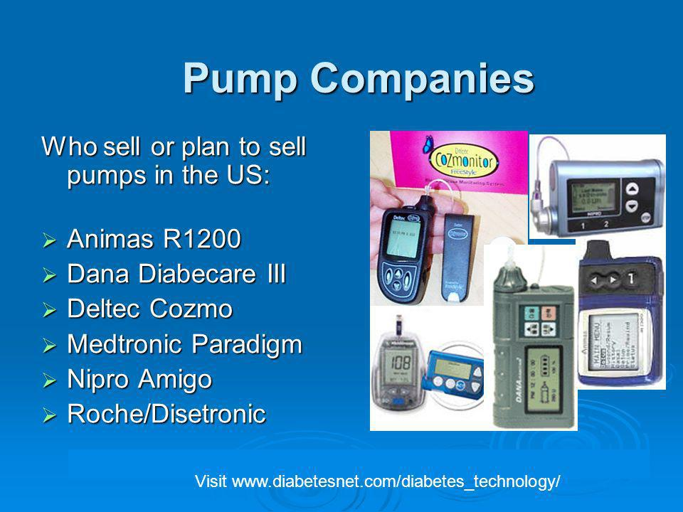 Pump Companies Who sell or plan to sell pumps in the US: Animas R1200