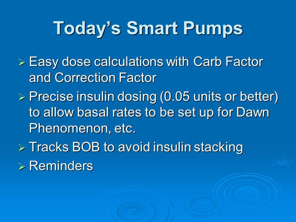 Today's Smart Pumps Easy dose calculations with Carb Factor and Correction Factor.