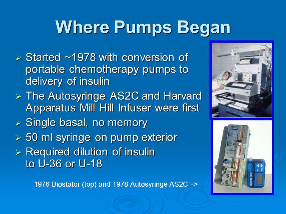 Where Pumps Began Started ~1978 with conversion of portable chemotherapy pumps to delivery of insulin.