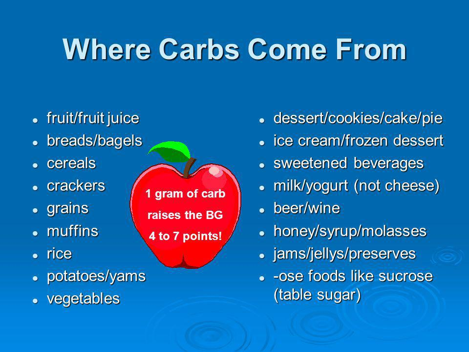 Where Carbs Come From fruit/fruit juice breads/bagels cereals crackers
