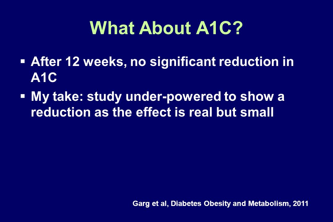 What About A1C After 12 weeks, no significant reduction in A1C