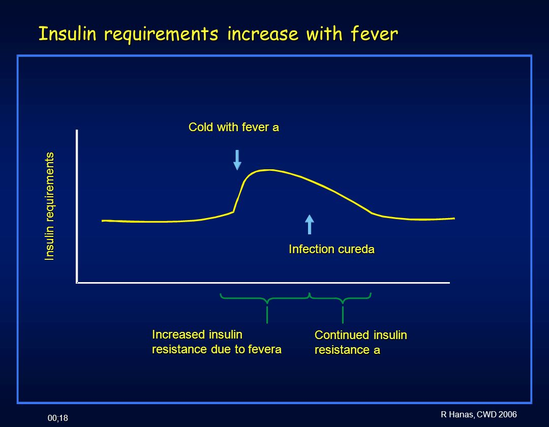Insulin requirements increase with fever