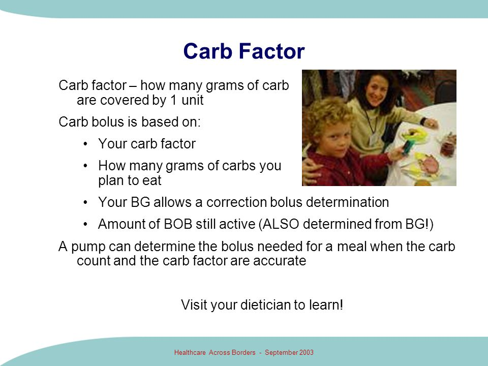 Carb Factor Carb factor – how many grams of carb are covered by 1 unit