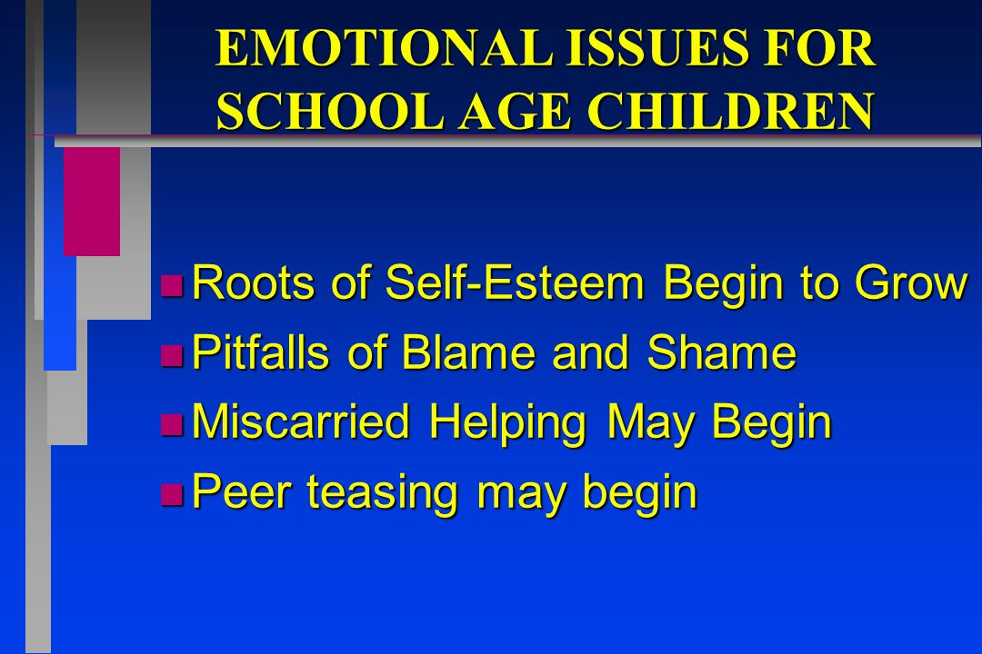 EMOTIONAL ISSUES FOR SCHOOL AGE CHILDREN