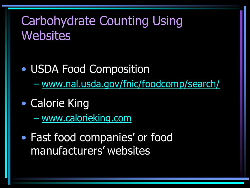 Carbohydrate Counting Using Websites