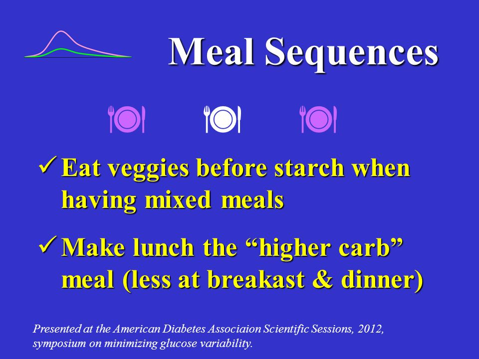    Meal Sequences Eat veggies before starch when having mixed meals