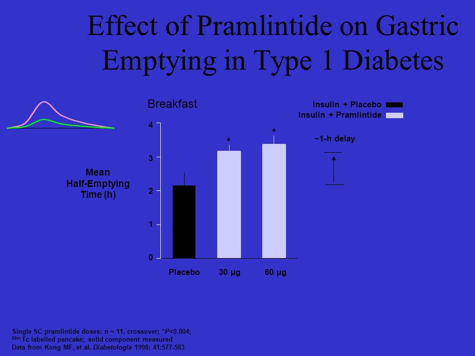 Effect of Pramlintide on Gastric Emptying in Type 1 Diabetes