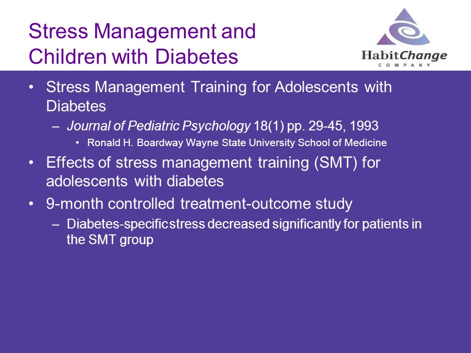 Stress Management and Children with Diabetes