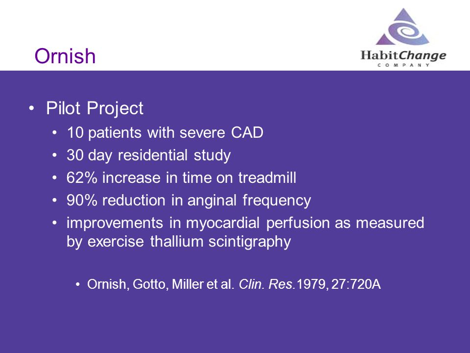 Ornish Pilot Project 10 patients with severe CAD