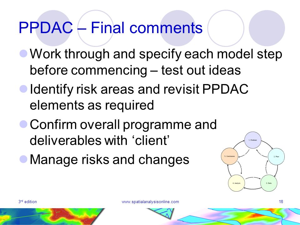 PPDAC – Final comments Work through and specify each model step before commencing – test out ideas.