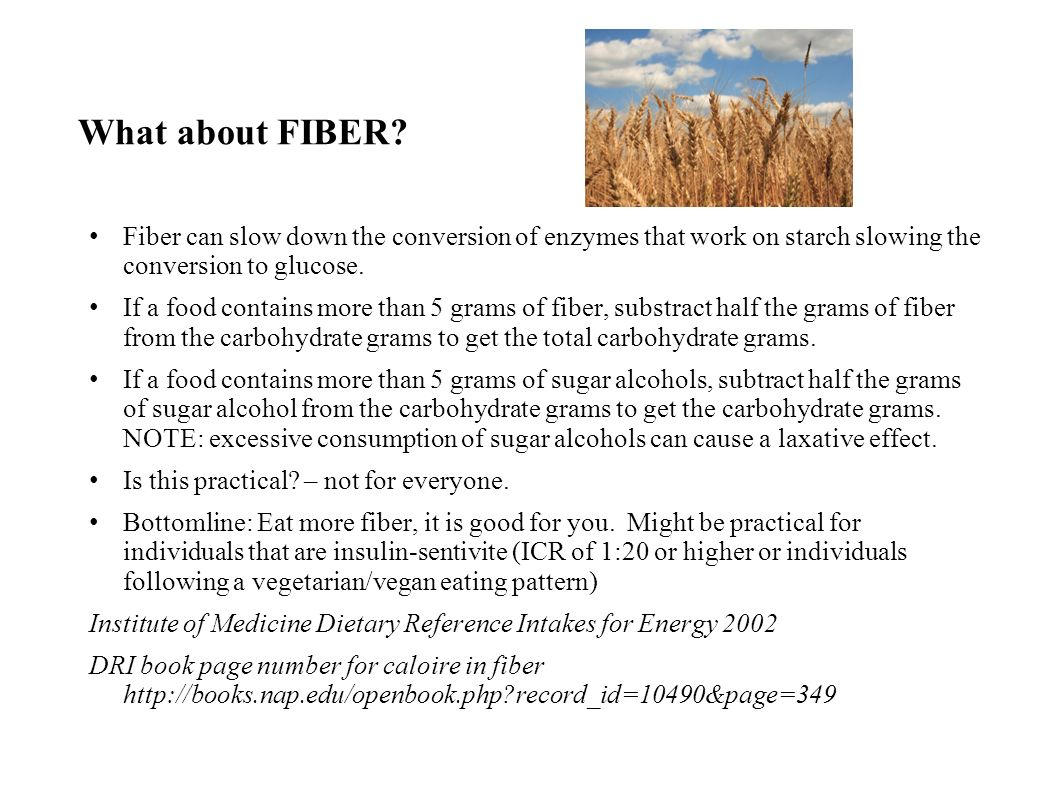What about FIBER Fiber can slow down the conversion of enzymes that work on starch slowing the conversion to glucose.