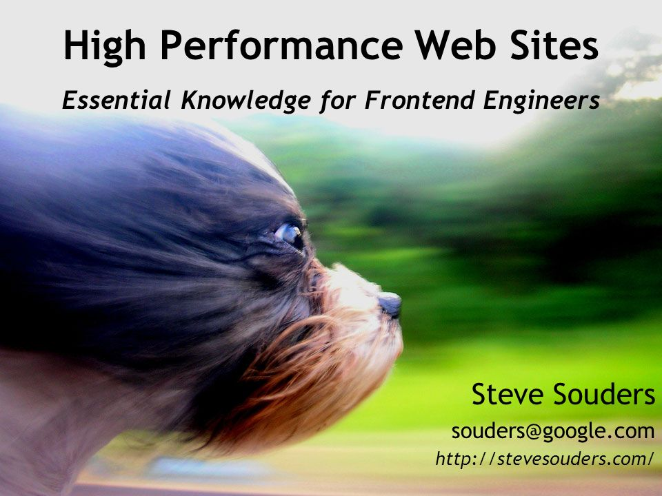 High Performance Web Sites Essential Knowledge for Frontend Engineers