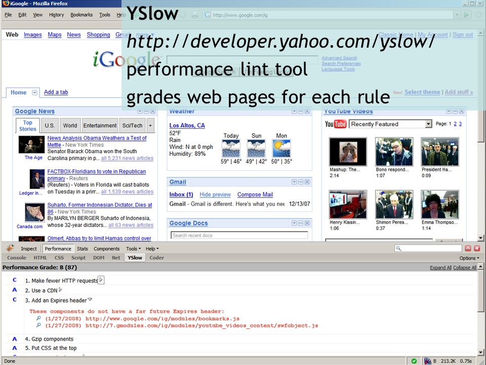 YSlow http://developer.yahoo.com/yslow/ performance lint tool grades web pages for each rule