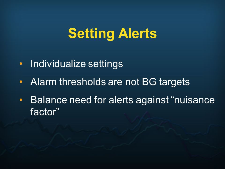 Setting Alerts Individualize settings