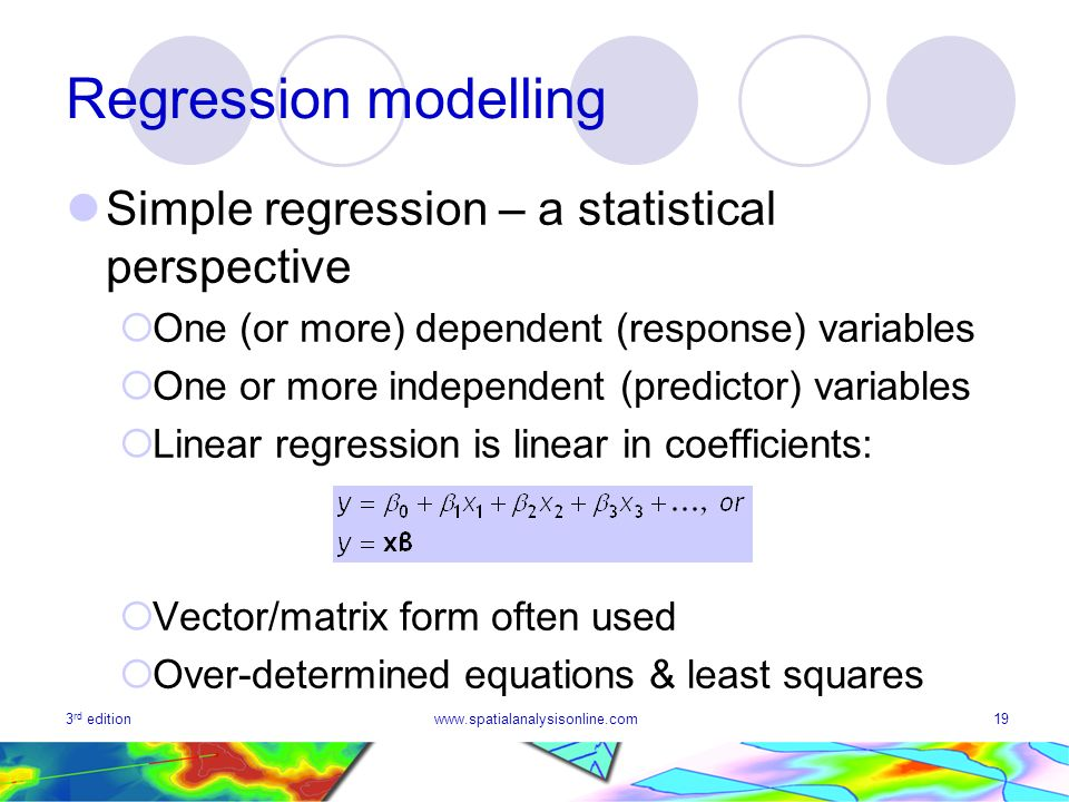 Regression modelling Simple regression – a statistical perspective