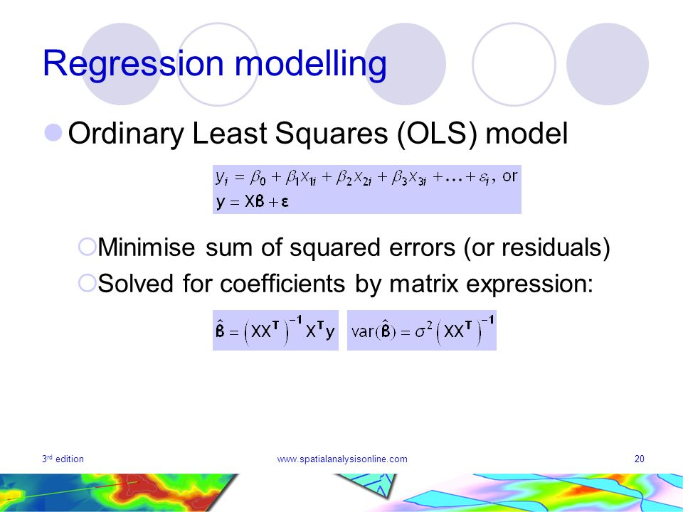 Regression modelling Ordinary Least Squares (OLS) model