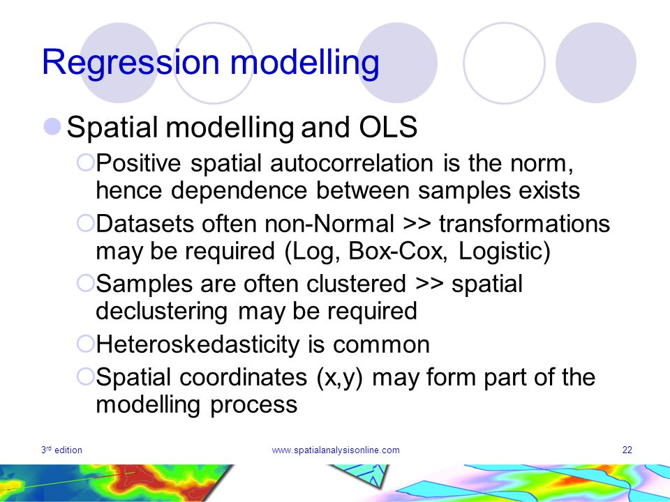 Regression modelling Spatial modelling and OLS