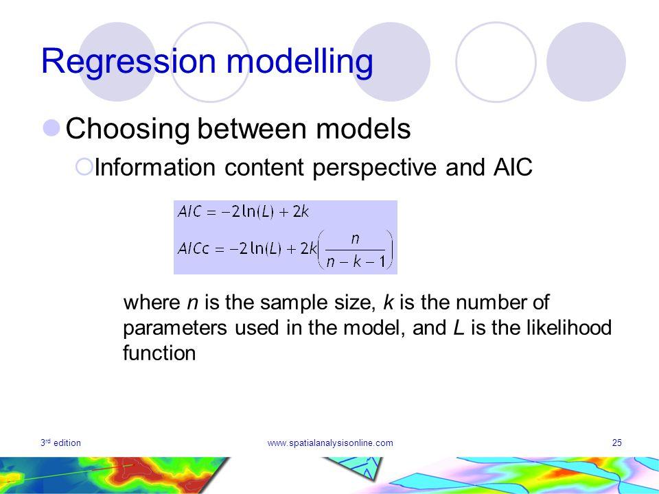 Regression modelling Choosing between models