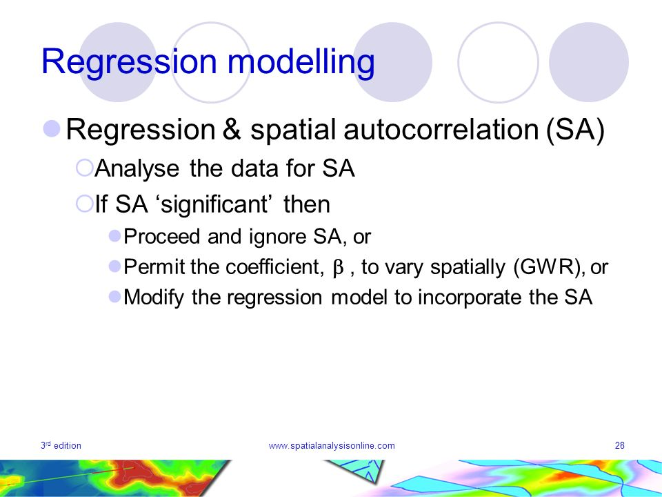 Regression modelling Regression & spatial autocorrelation (SA)