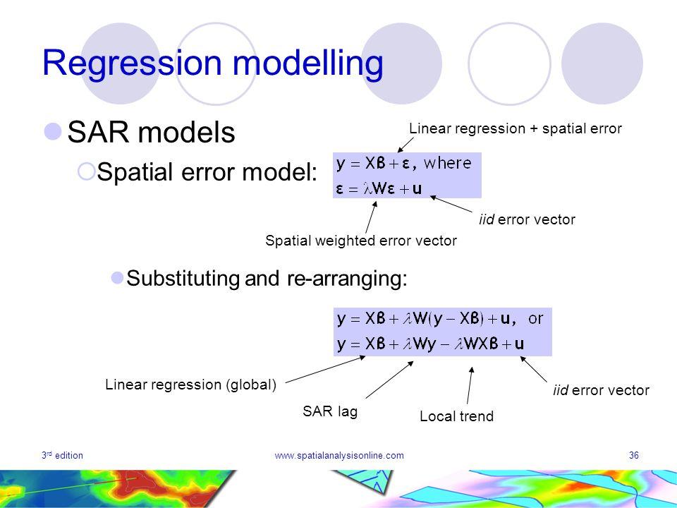 Regression modelling SAR models Spatial error model: