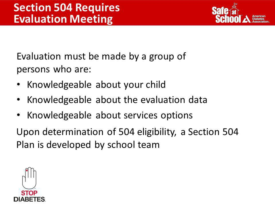 Section 504 Requires Evaluation Meeting